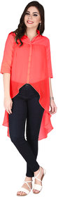 Soie Red Georgette Shirt Collar Long Sleeve Solid Top