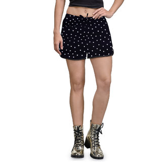 The Gud Look Blue Polyester Printed Womens Short
