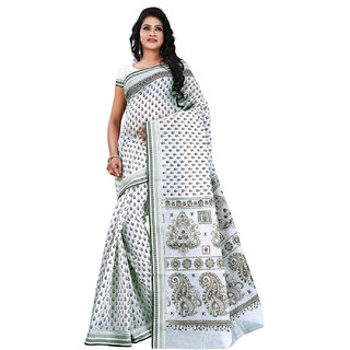Bunny Sarees Designer White Color Cotton Hand Printed Saree