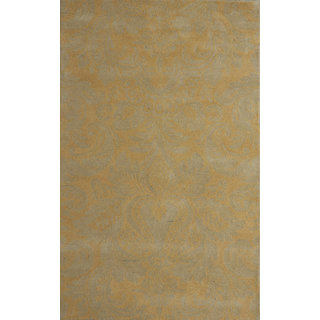 Rugs N More Hand Tufted Grey Gold Multi Wool 5ft x 8ft Carpet