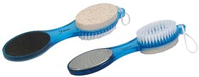 Edee 4 in 1 Foot File with Pedicure Brush - Blue (Pack of 2)