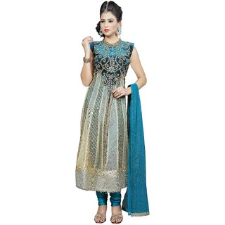 Angel garment light blue  golden Naylon net Anarkali, indowestrean salwar suit