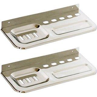 2 Pieces Soap Dish  Paste Holder(Steel)
