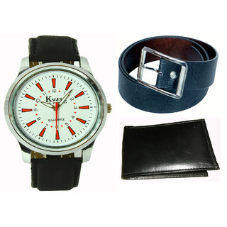 Kbp  MenS Black Belt, Wallet  Analog Watch Combo (Kbp-Wt-005  Kbp-B-001)