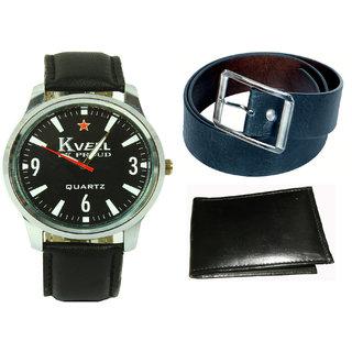 Kbp  MenS Black Belt, Wallet  Analog Watch Combo (Kbp-Wt-006  Kbp-B-001)
