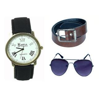 Kbp MenS Brown Belt, Assorted Sunglassess  Analog Watch Combo (Kbp-Wt-001  Kbp-B-002)