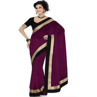 FABKAZs Women chiffon Purple colour Lace Broder WorkDesigner saree