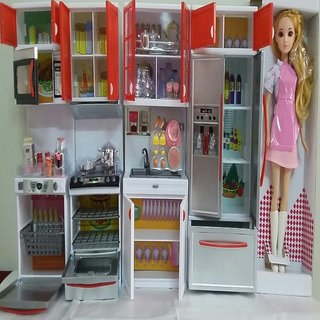 Battery Operated Complete Modern Kitchen Play Set Toy With Doll And Cooktop From Amayra Store