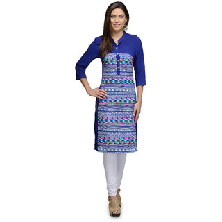 The Gud Look Multicolor Polyester Band Collar 3/4th Sleeve Printed Kurti