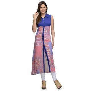 The Gud Look Multicolor Polyester Basic Collar Sleeveless Printed Kurti
