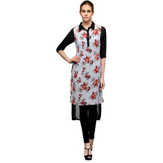 The Gud Look Multicolor Polyester Basic Collar 3/4th Sleeve Printed Kurti