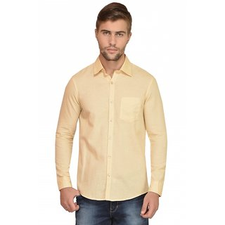 The Nim Mens  Linen-cotton Solid Cream Shirt