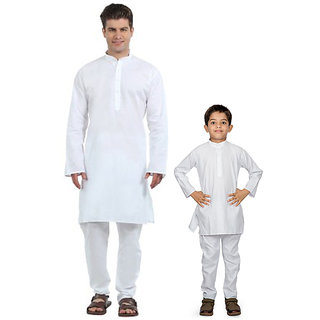 White-Kurta Combo set for Father and Son Combo Collection