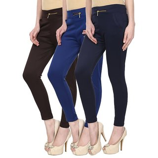 Navgun Brown, Royal Blue, Navy Blue Color Pack of 3 Cotton Lycra Treggings