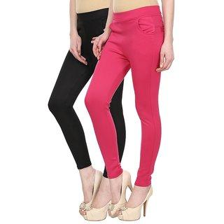 Navgun Black ,  Pink Color Pack of 2 Cotton Lycra Treggings