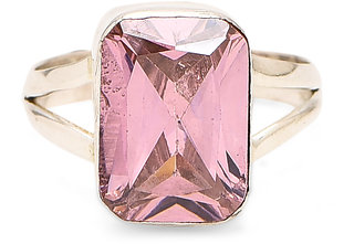 Silver Ring for women Pink Block Ring