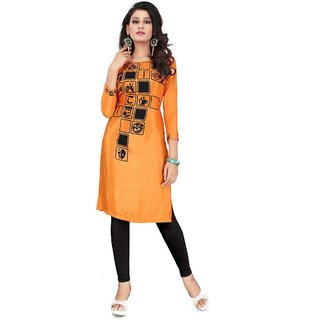 Mindblowing Orange Crepe Silk Regular Kurtis