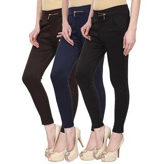 Navgun Brown, Navy Blue, Black Color Pack of 3 Cotton Lycra Treggings