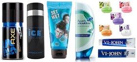 AXE DEO + ICE DEO + SET WET Hair Gel + Head  Shoulder Conditioner  + 5 JO Soaps + Shaving Cream