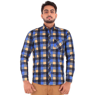 Blue Yellow Grey Black Check Shirt