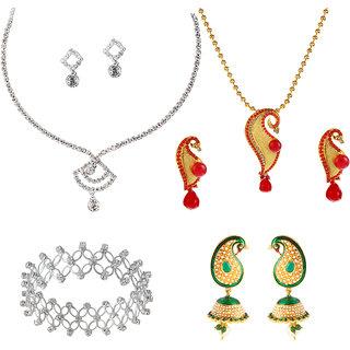 Kriaa creative peacock designed set of 4 jewellery combo - 1001903