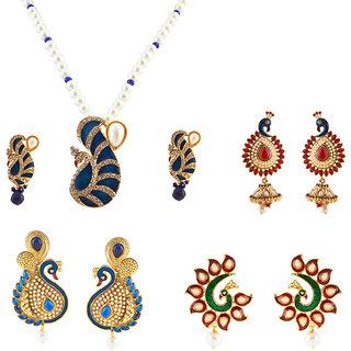 Kriaa Classy morpankh set of 4 jewellery combo - 1001906