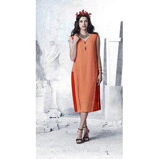 Fabliva Orange Block Print Georgette Stitched Kurti