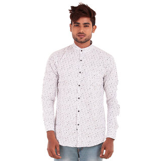 White Mandarin Collar Shirt with Circles Print