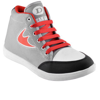Grey Red Casual Shoes