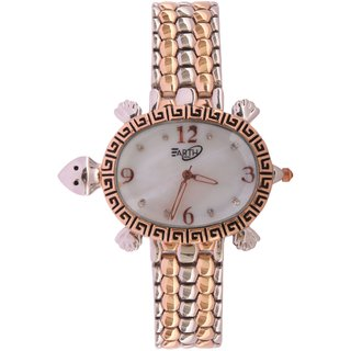 Rectangle  Round Dial Rose Gold Metal Strap Analog Watch For Women