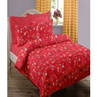 Swaas Daffodil Red - King Size Bed Sheet Set With Two Pillow Covers