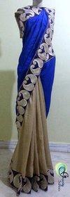 Designer Sarees Multicolor Linen Self Design Saree With Blouse