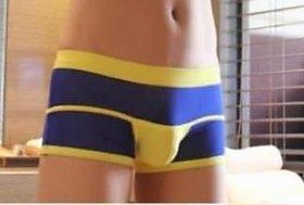 Men Hot temptation  Yellow Blue Twin Shades single pouch Boxer Shorts