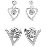 Mahi Rhodium Plated Eita Collection Combo Of 2 Earrings Of Crystals CO1104012R