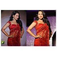 Red Net Graphic Print Saree With Blouse