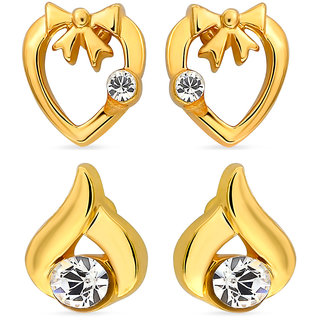 Mahi Gold Plated Eita Collection Combo Of 2 Earrings Made Of Crystals CO1104011G