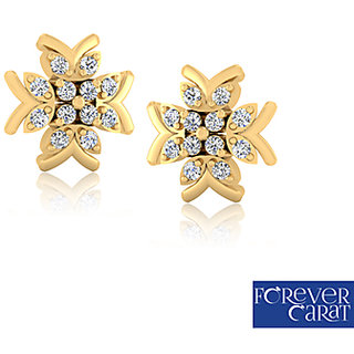 Certified 0.16ct Real Diamond Earrings 925 Sterling Silver Earring Stud ER-0098