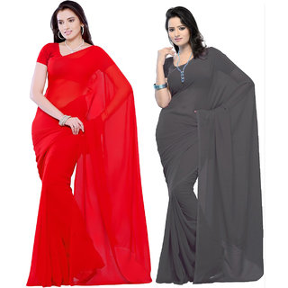 Combo of RedGrey Georgette Casual Wear Dyed Sarees With Unstitched Blouse-A717SE649640CO