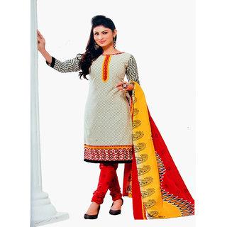 Pinted Cotton Salwar Kameez Suit with Cotton Dupatta - Unstitched Ladies  Suit