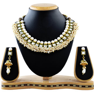 Reeva Green Copper Necklace Set With Kundan Pearl Top And Pearl Beading