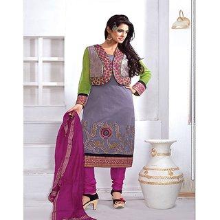 Multi Retail Purple Embroidered Chanderi Semistitched Dress With Dupatta