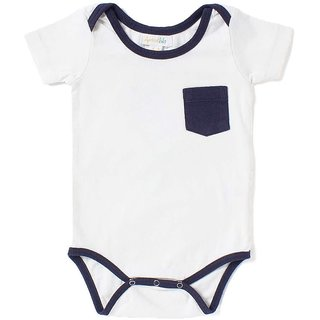 Apricot Kids White Round Neck Romper For Baby Boys