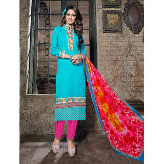 Thankar Sky Embroidered Cotton Jaquard Party Wear Straight Suit