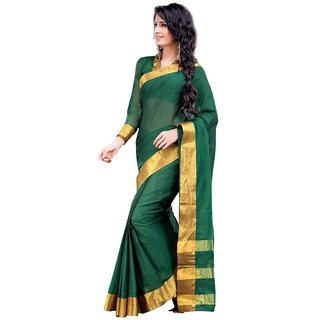 100 %Cotton by cotton comded organja plain Saree  dark green color saree with golden zari border