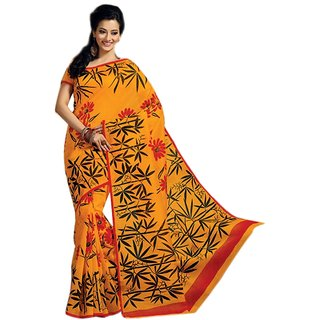 14Fashions Yellow Cotton Floral Print Saree With Blouse