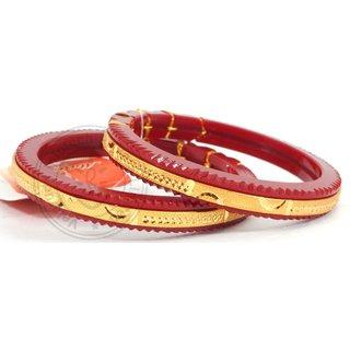 Velamart Traditional Golden Design Red Pola Bangle Bracelet Jewelry Fps 282