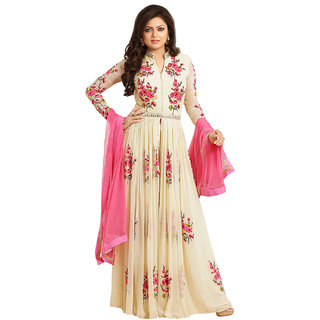 Surat Tex Cream  Pink Color Party Wear Embroidered Georgette Semi-Stitched Anarkali Suit-I74DLHCA