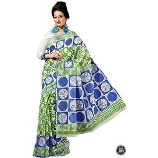 14Fashions Green Cotton Geometric Print Saree With Blouse