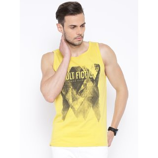 Cult Fiction Men's Yellow Round Neck T-Shirt