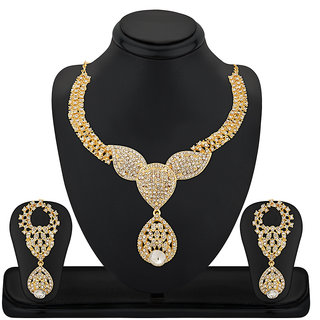 Reeva Exclusive Gold Plated Necklace Set With Austrian Diamond